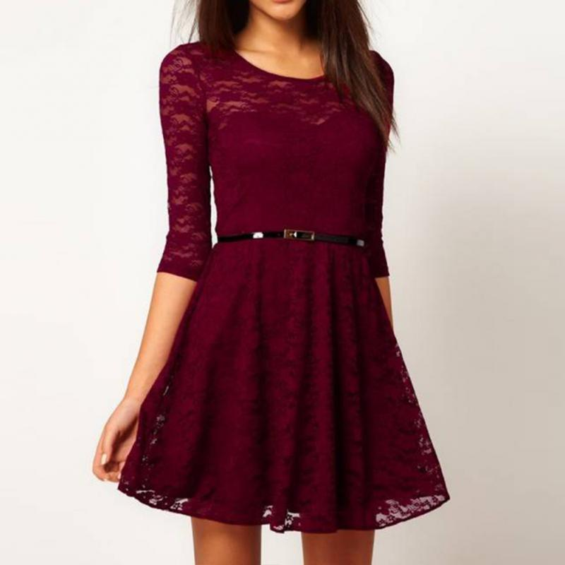 Lace Patchwork Half Sleeve Dress