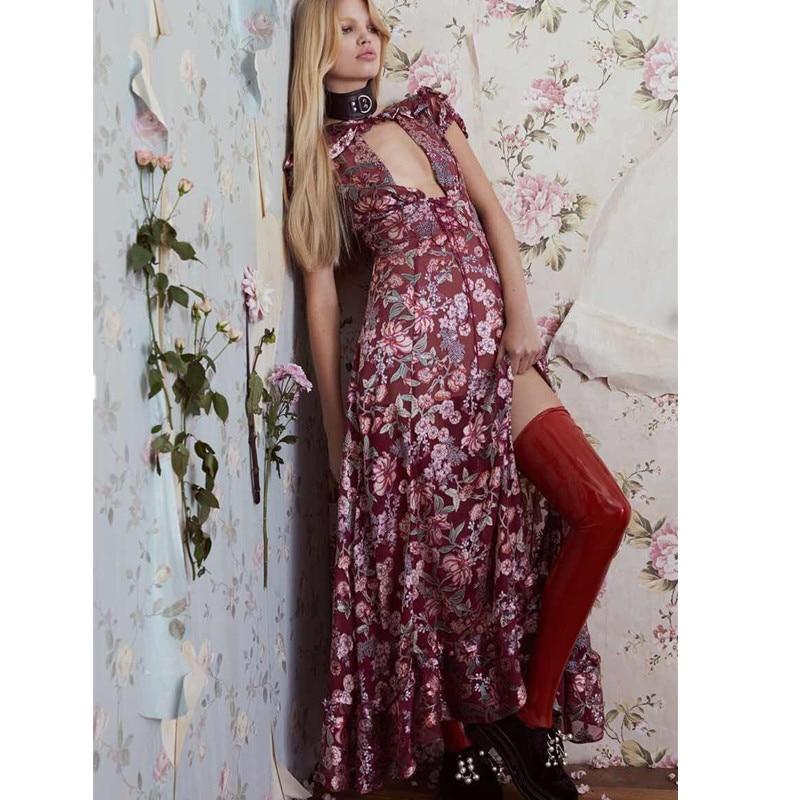 Богемный Для женщин макси платье Глубокий V стадо платье с цветочным рисунком Волан пляж повязку длинное платье пикантные Vestidos