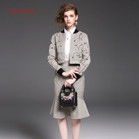 Fairy Dreams 2 Piece Set Top And Skirt Women Costume Flowers Embroidery Jacket Autumn New Style