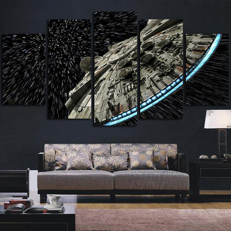 Modern Wall Art Pictures Home Decor Posters 5 Panel Star Wars Destroyer Millennium Falcon Living Room HD Printed Painting Frame