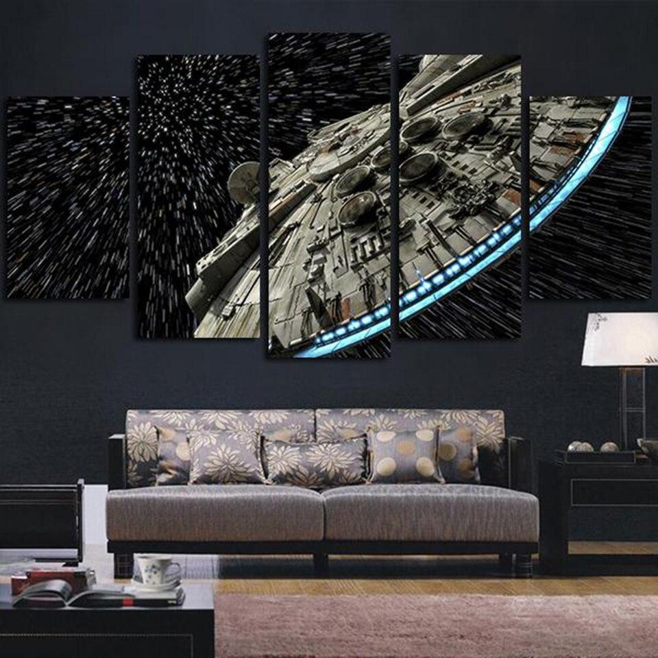 Moderne Wand Kunst Bilder Wohnkultur Poster 5 Panel Star Wars Destroyer Millennium Falcon Wohnzimmer HD Gedruckt Malerei Rahmen