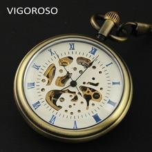 Caja de Aleación de Bronce esqueleto Estilo Open Face Relojes de Moda Romana Dial Caso Reloj de Los Hombres Mecánicos Mano de Viento de Bolsillo de Lujo reloj