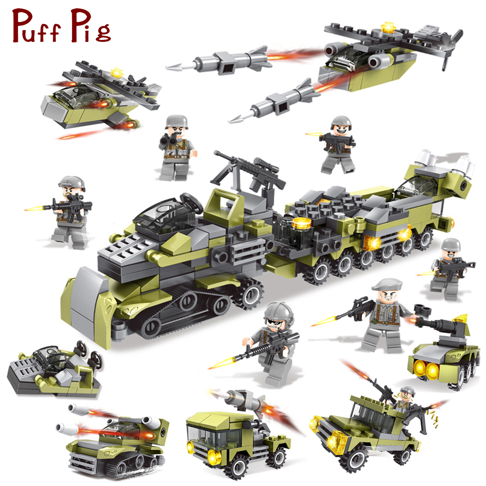 296PCS 6in1 Military Building Blocks Army Cars Helicopter Soldiers Weapons Gun Compatible Legoed Educational Toys For Children цена