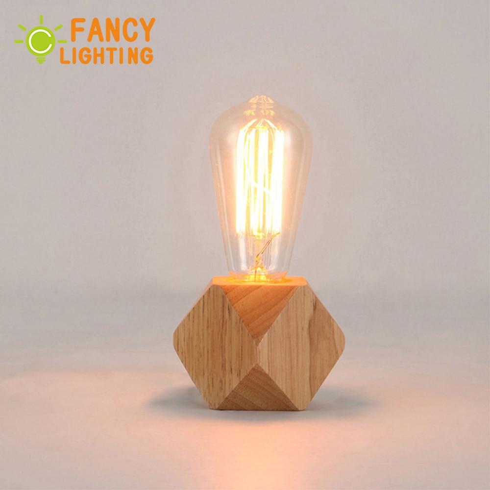 Modern table lamp E27 Wooden desk lamp EU Plug Wooden Base for home/bedroom/living room decor Diamond bedside lamp tafellamp|table lamp wood|retro bedside lampstable lamp - title=