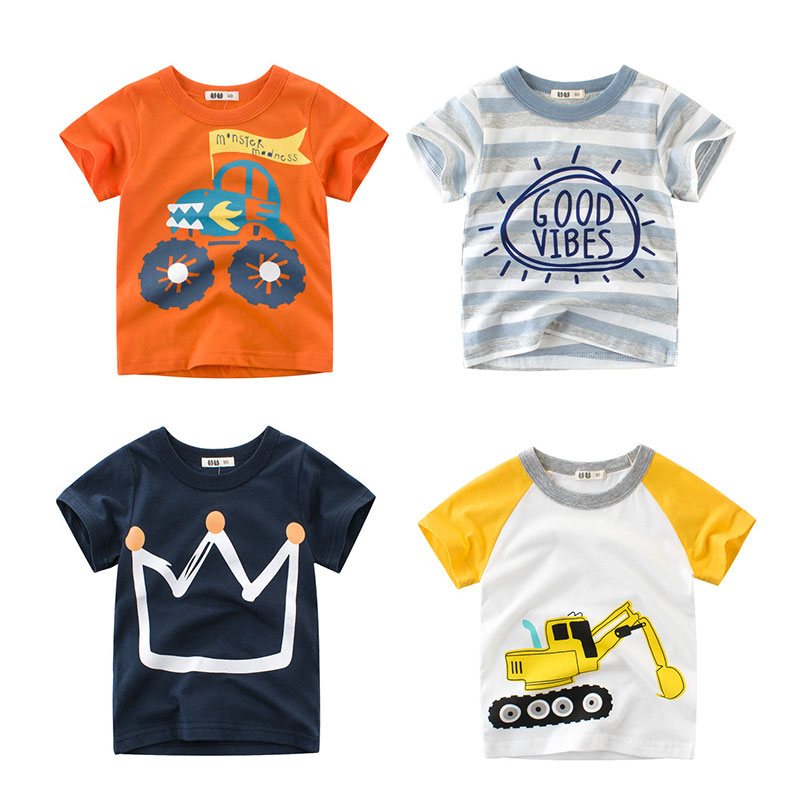 2018 Summer Kids Boys T Shirt Crown Print Short Sleeve Baby Girls T-Shirts Cotton Children's T-Shirt O-Neck Tee Tops Boy Clothes