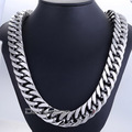 Fashion Gift 19mm Heavy Silver Tone Cut Double Curb Link Rombo Mens Chain Boys 316L Stainless Steel Necklace Jewelry DLHN56