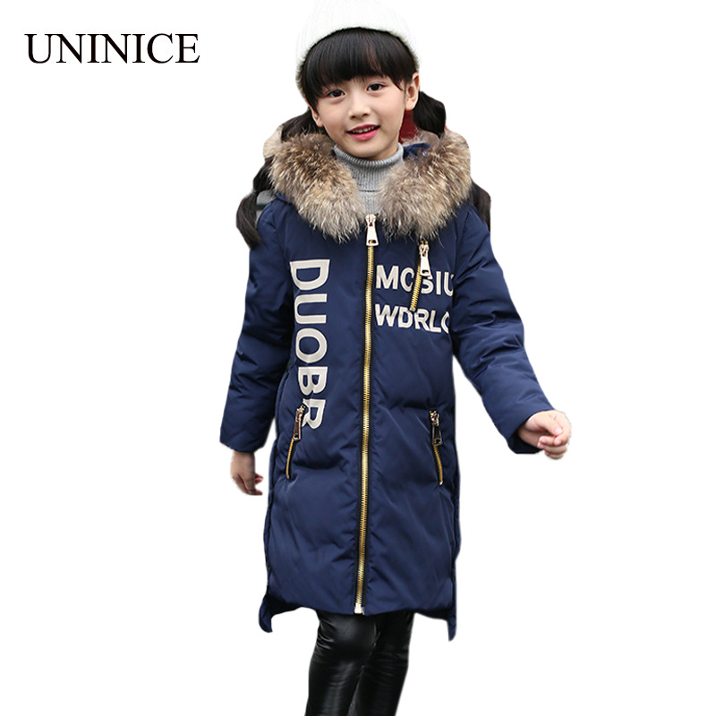 UNINICE Children Winter Down Jackets Boys Coats Girls Warm Thicken Duck Down Fur Collar Hooded Kids Jacket -30 degree Outerwears winter down jacket for girls kids clothes children thicken coats duck down jackets girls hooded bow snowsuits natural fur coat