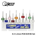 XCAN 10 unids/set de 0,3mm a 1,2mm PCB mini broca de acero de carburo de tungsteno para imprimir placa de circuito cnc brocas de la máquina