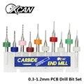 XCAN 10pcs/set 0.3mm to 1.2mm PCB mini drill Bit tungsten steel carbide for print circuit board cnc drill Bits Machine