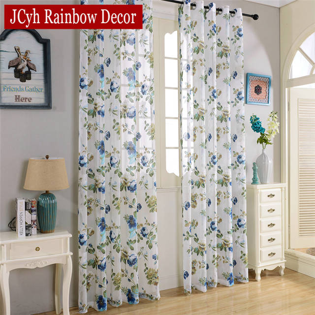 Window Floral Tulle Curtains For Living Room Sheer White Children