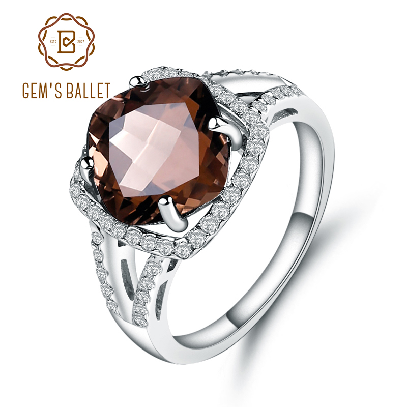 GEM'S BALLET 5.22Ct Natural Smoky Quartz Wedding Rings Solid 925 Sterling Silver Vintage Gemstone Ring Fashion Jewelry For Women