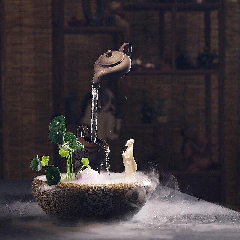 Zen coule fontaine d'eau décoration de la maison Feng Shui maison bureau Aquarium chanceux humidificateur chinois décoration cadeau