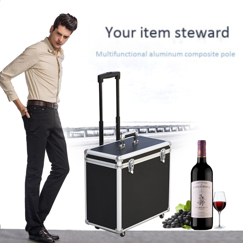 Multifunctional aluminum frame trolley case red wine glass Toolbox storage box universal travel suitcase bag 4 wheel luggage absMultifunctional aluminum frame trolley case red wine glass Toolbox storage box universal travel suitcase bag 4 wheel luggage abs