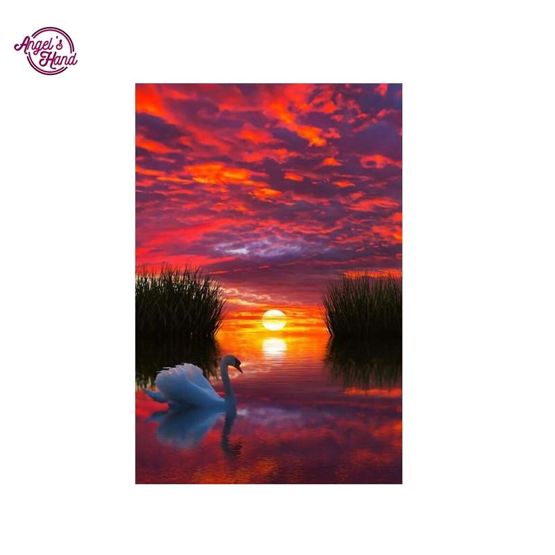 ヾ(^▽^)ノMano del ángel Cisne en el lago diamante redondo completo ...