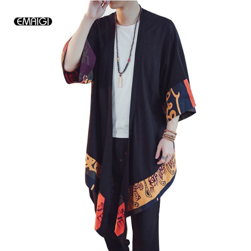 Men Spring Summer Cotton Linen Long Cardigan Trench Coat Outerwear Men Fashion Casual Loose Thin Kimono Jacket Overcoat