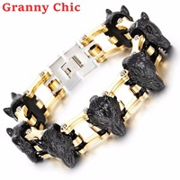 Granny Chic New Fashion Stainless Steel High Quality Motorcycle Chain Biker Wolf Heads Charms Mens Bracelet