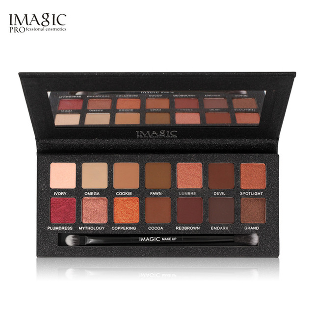Professional 14 Shimmer Color Brown Sunset Eyeshadow Palette Neutral Nude Eye Shadow Matte Cosmetic Wholesale Makeup Palette Set by Red Dieny