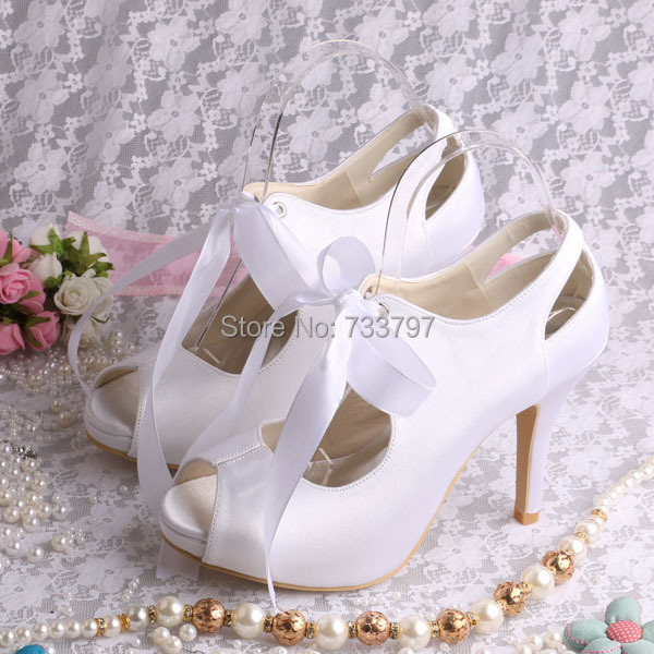 High Quality Open toe Lace up Bridal Wedding Shoes White Satin High Heeled