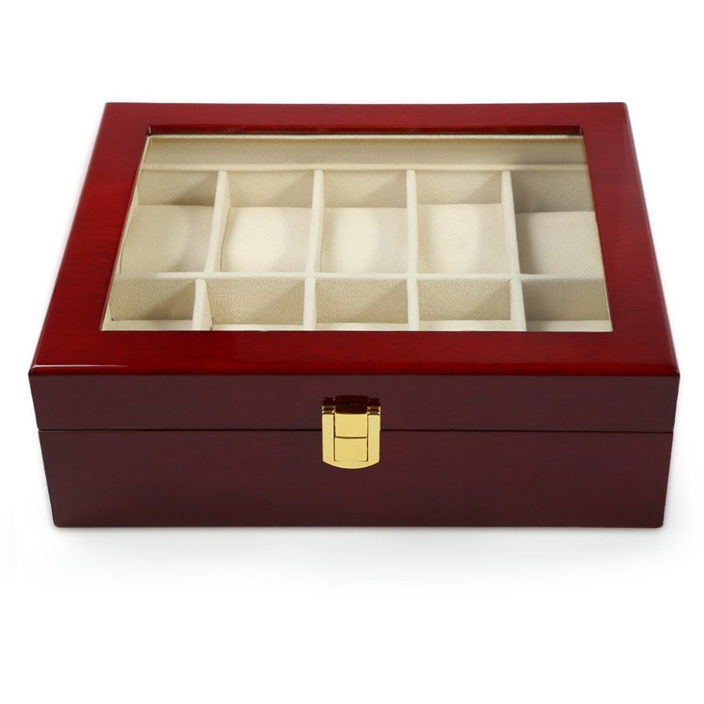 2016 Hot Sale 10 Grids Red Wooden Watch Case Glass Cover Elegant Watch Box Jewerly Storage