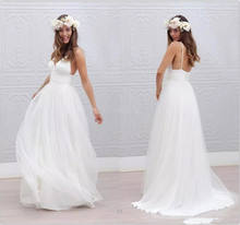 Simple Beach Wedding Dress 2019 A-Line V Neck Spaghetti Straps Sexy Boho Backless White Bride Dress Bridal Gown Vestido De Noiva(China)