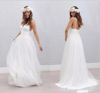 Simple Beach Wedding Dress 2019 A Line V Neck Spaghetti Straps Sexy Boho Backless White Bride Dress Bridal Gown Vestido De Noiva