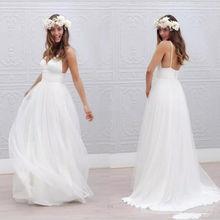 Vestido De Noiva Simple Beach Wedding Dress 2018 A-Line V Ne