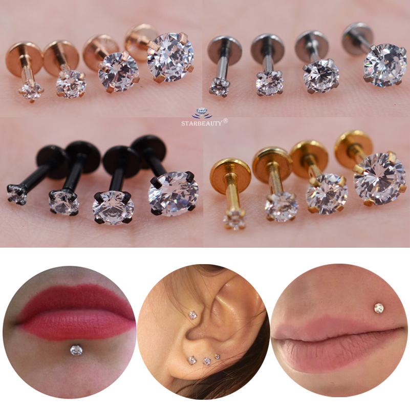 Nose Piercing Helix Earrings Labret Clear-Stone Tragus Round Cartilage 16G Lip 6mm 1pc/Lot