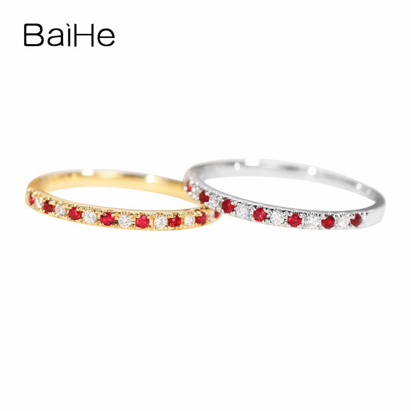 BAIHE Solid 14k Yellow Gold(AU585) 0.10ct Round Cut 100% Genuine Natural Ruby Engagement Trendy Women Fine Jewelry Gift Ring    BAIHE Solid 14k Yellow Gold(AU585) 0.10ct Round Cut 100% Genuine Natural Ruby Engagement Trendy Women Fine Jewelry Gift Ring