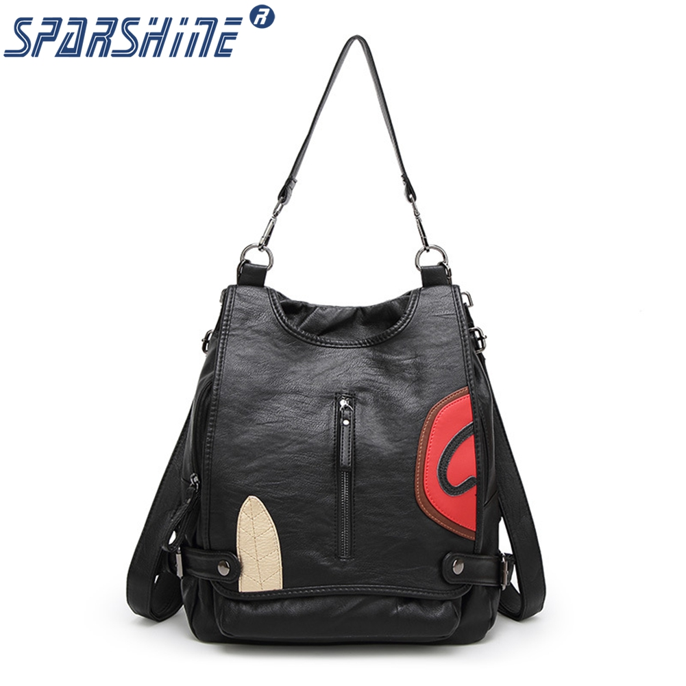 Women many kinds of backpack methods 2017 fashion summer new multi functional leather sheepskin polyester appliques