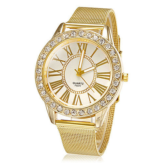 Fashion watch Women Stainless Steel Ladies gils Crystal Quartz Watch Dress Round