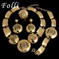 2017 New Fashion Brand Dubai Gold Plated Jewelry Set Big Costume Nigerian Wedding African Beads Jewelry Sets Parure Bijoux Femme