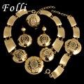 2017 Nova Marca de Moda Dubai Banhado A Ouro Conjunto de Jóias Big Traje Nigerianos Casamento Beads Africanos Jóias Define Parure Bijoux Femme