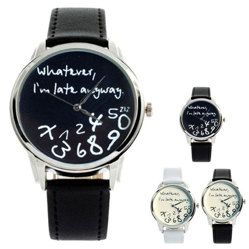 Ycys-whatever I Am Late Anyway english Alphabet Cartoon Digital Leather Wrist Watch Blue Men's Watches