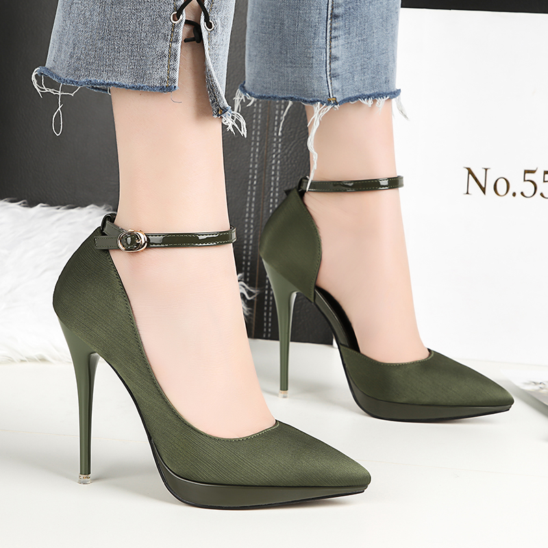 2018 Summer Women 12cm Thin Extreme High Heels Satin Silk Pumps Female Elegant Sweet Heels Shoes Scarpins Buckle Cheap Shoes 23