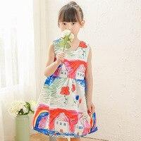 Girl Dress 2016 Summer Brand Sweet Princess Dress Girl Designer Character Painting Kids Dresses For Girls