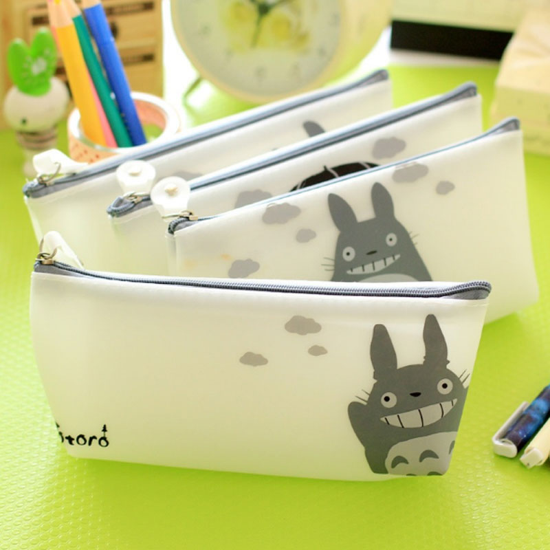 XYDYY Cartoon Totoro Prints Women Cosmetic Cases Frosted Waterproof Silica Gel Cosmetic Bags Girls Makeup Organizer Pouch Bags