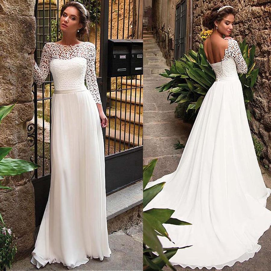 Elegant Lace & Chiffon Bateau Neckline A-Line Wedding Dress With Belt Long Sleeves Open Back Bridal Dress Women