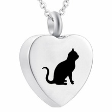 Pet Cremation Jewelry Stainless Steel Pendant Necklace Urn for Ashes Black Cat on Heart Kitty Kitten Keepsake Jewellery