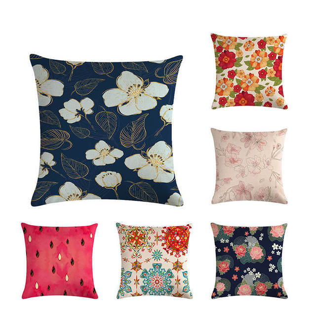 Seamless Floral Pattern Butterfly Flowers Green Leaf Wild Fruit Decorative Throw Pillow Cushion Cover, 45*45cm Home Decor