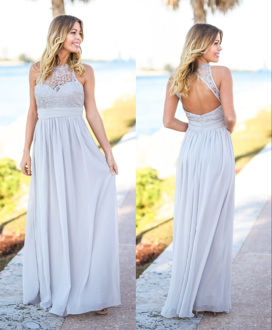 Popular rustic style bridesmaid dresses buy cheap rustic style silver lace top 2017 bridesmaid dresses long gray sleeveless open back country style rustic sexy maxi ombrellifo Images