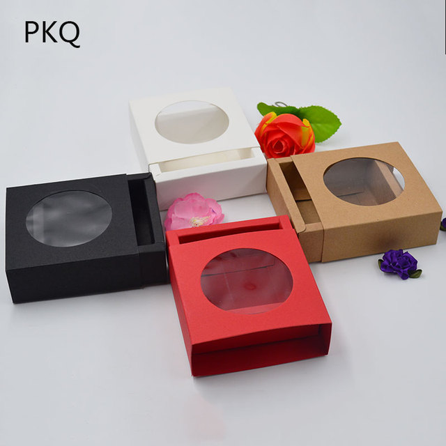 Us 19 53 7 Off Small Paper Cardboard Gift Boxes For Wedding White Red Black Paper Drawer Box With Round Window Christmas Gift Packaging Box In