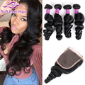 8A Indian Loose Wave Virgin Hair 4 Bundles With Closure Raw Indian Curly Hair With Closure Cheap Human Hair Bundles With Closure