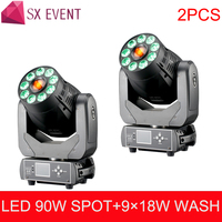 2pcs/lot 90W Spot+9x18W wash super 90W Spot+Wash 2 IN1 Led Moving Head Light white+9x18W RGBWA UV 6 IN1 LEDS 6 gobo for DJ Party
