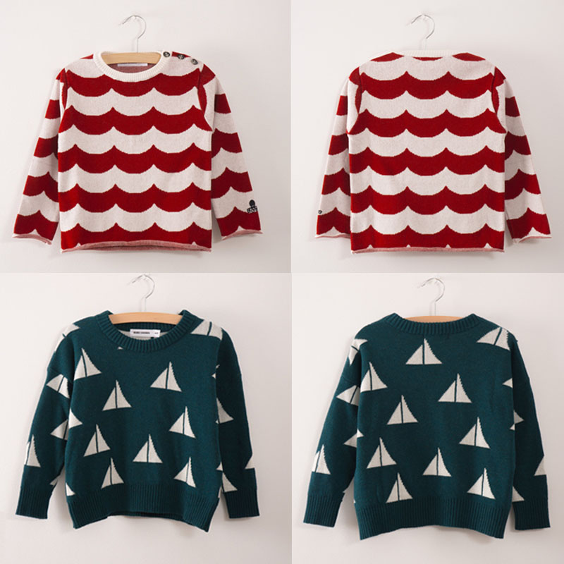 BBK Pre-sale! bobochoses 2017 autumn new baby boys Sweaters Print wave&triangle Pullover Knit Sweaters girls knitting sweater C*