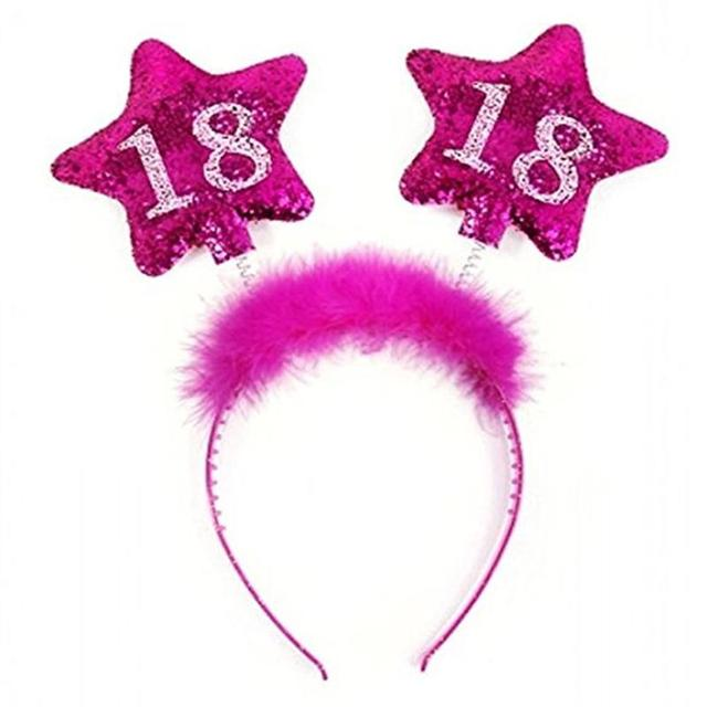 Women Cute Feather Headband Star Hair Hoop Headpiece Dress For 18th Birthday Party Costume Decroation