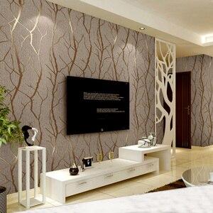 Image 3 - מודרני מינימליסטי אופנה לא ארוג טפט לחמניות 3D בולט סניף פס קיר נייר לסלון טלוויזיה ספת רקע קיר