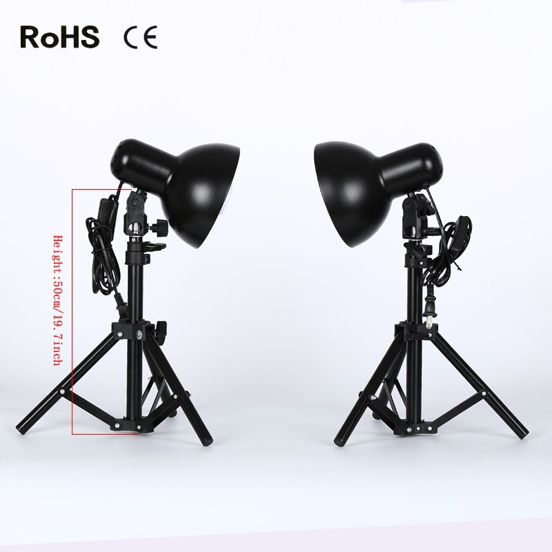 Photography Studio Set:2*Product Photography Fluorescent Lamp Lighting Kit With 50cm Light Stand
