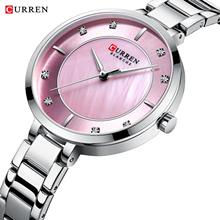 цена на CURREN Luxury Lady Watch Pink Silver Slim Dial Stainless Steel Strap Rhinestone Diamond Quartz Female Girls Brand Watches Clock
