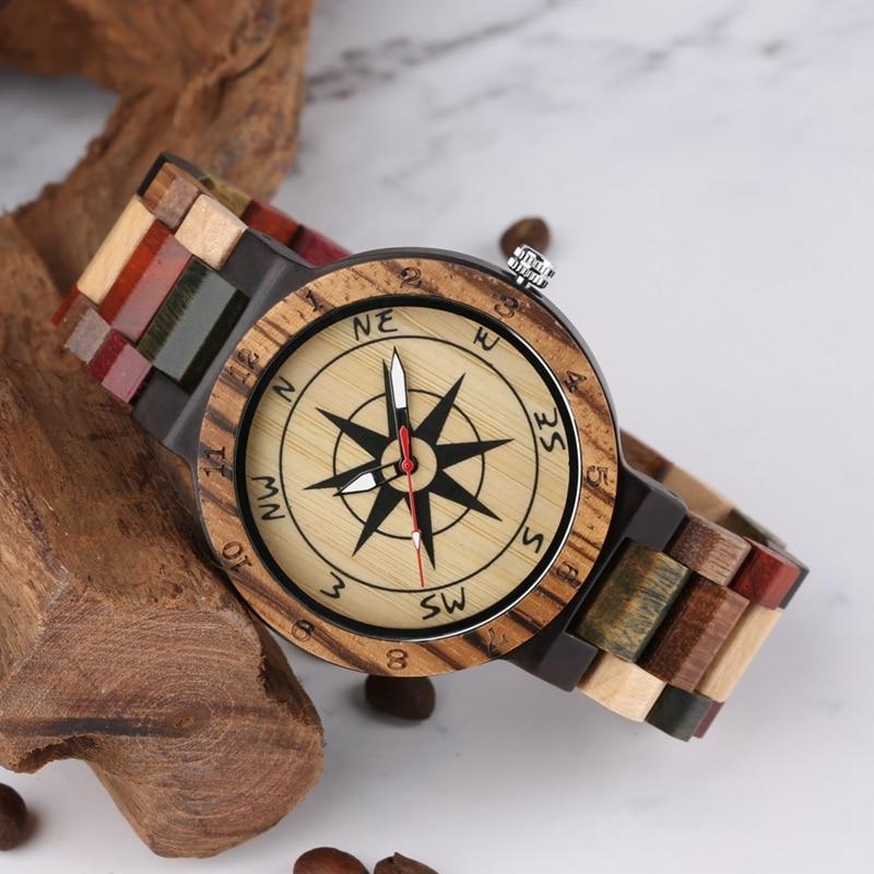 Creative Compass Dial Wood Watch Men Bamboo Watch Male Clocks Retro Full Wooden Wrist Quartz Watch Top Luxury Mens Watches 2019 2020 2022 2023 (7)