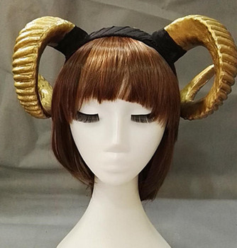 Handmade Sheep horn Headband Hairband Accessory Demon Evil Gothic Lolita Cosplay Halloween Headwear Prop 1